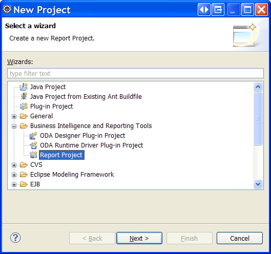 Create an Eclipse BIRT project for ObjectDB / JPA reports